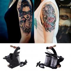 Tattoo Machine Gun Ink Needles Power Supply Cord Beginner Kit Body Beauty Tool as picture