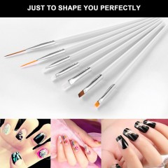15Pcs Cosmetic Nail Art Polish Painting Draw Pen Brush Tips Tools Set UV Gel white default