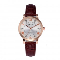 Fashionable Design Top Brand Women Leather Thin Strap Quartz Wrist Watch