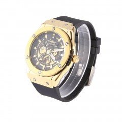 Men Automatic Mechanical Watch Silicone Wristwatch Gold Dial Wrist Watch