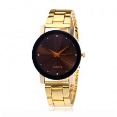 Fashion Line Scale Steel Wristband Quartz Movement Wristwatch Vintage Dial