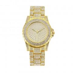 Fashion Women Watches Luxury Casual Alloy Steel Watch with Rhinestone Decor