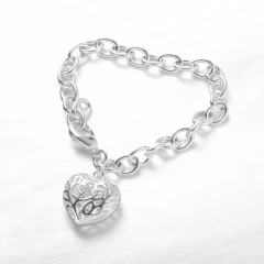 Exquisite Hollow Heart Pendant Charm Heart Bangle Bracelet Chain