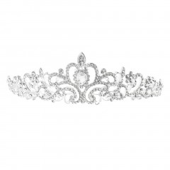 Bridal Princess Austrian Crystal Tiara Wedding Crown Veil Hair Accessory Silver