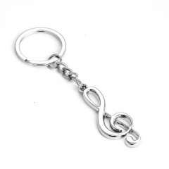 Stainless Steel Metal Treble Clef Musical Symbol Key Ring Key Chain Gift