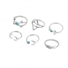 6pcs Vintage Boho Women Finger RingsMoon Sun Cupid Arrow Turquoise Open Rings silver one size