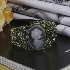 Vintage Bronze Relief Carved Cameo Statue Queen Bangle Bracelet w/Rhinestones one size as picture