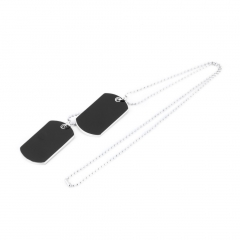 Army Military Style Black 2 Dog Tags Chain Double Beauty Mens Pendant Necklace one size as picture