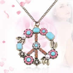 Flower Coral Turquoise Simulated-Pearl Peace Sign Pendant Long Necklace one size as picture