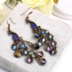Women Bohemian Style Lady Long Pendant Vintage Retro Blue Peacock Earrings one size as picture