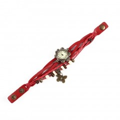 Ladies PU Leather Strap Butterfly Bracelet Watch Quartz Movement Wrist Watch