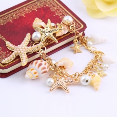 Fashion Ocean Multi Starfish Sea Star Conch Shell Pearl Chain Beach Bracelet one size as picture