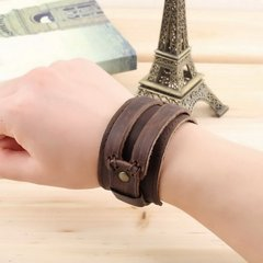 Genuine Cowhide leather Buckle Punk wide Bracelet Wristband men boys brown one size