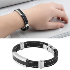 Stylish Mens Man Stainless Steel Silicone Bangle Bracelet Jewelery Gift