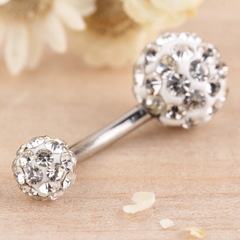 1PC Navel Belly Button Bar Ring Barbell Rhinestone Crystal Ball Body Piercing