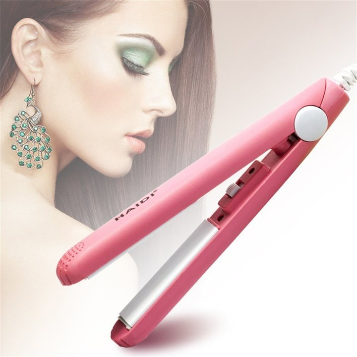 Portable Ceramic Hair Roll Straighteners Beauty Wet/Dry Dual Use Tools pink 17*2cm