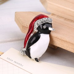 Christmas Rhinestone Cute Penguin Brooch Pin Xmas Gift Party Decoration as picture one size