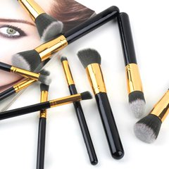 10pcs Professional Cosmetic Makeup Brushes Set Foundation Eyeshadow Brush black + gold