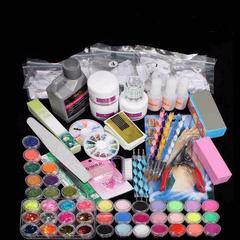 98 Set XXXL Farbe Acryl Pulver UV Lampe Pinsel Gli multicolor