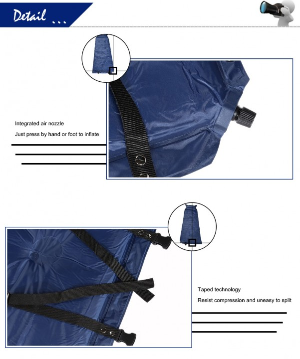 WIND TOUR Waterproof Single Automatic Inflatable Picnic Mat Moisture-proof Pad with Pillow