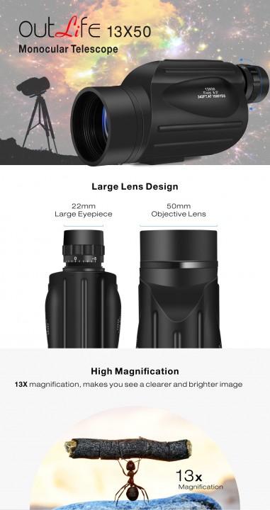 Outlife 13X50 Monocular Telescope Prism Scope