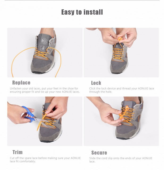 AONIJIE Elastic Lock Laces Reflective No Tie Quicklaces for Running Climbing Hiking Outdoor Sport Shoes