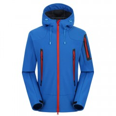 Outdoor Soft Shell Jacket Waterproof Breathable Co BLUE XL