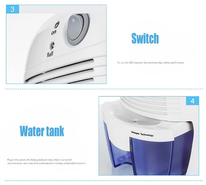 XROW - 600A 23W 500ML Portable Mini Dehumidifier Electric Quiet Air Dryer for Home Bathroom