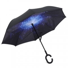 Windproof Reverse Folding Double Layer Umbrella wi BLUE AND BLACK