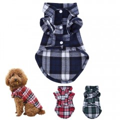 Lightweight Plaids Pet Clothes Spring Dogs Shirts  BLUE L