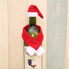 Cute Small Scarf and Hat for  Christmas Bottle Dec RED