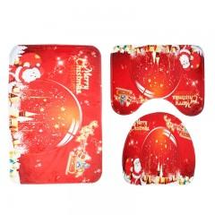 Santa Claus Pattern 3pcs Toilet Mat Bath Mat RED
