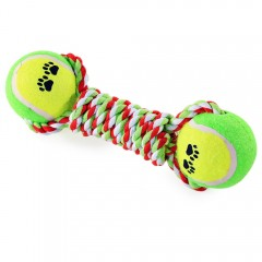 Knot Rope Dog Chew Training Pet Toy with Tennis Ba COLORMIX