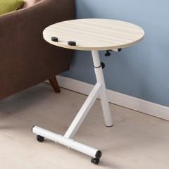 Movable Lift Desk Round Adjustable Tea Table BURLYWOOD