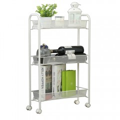 3 Tier Mesh Rolling Kitchen Cart with 3 baskets Sl WHITE