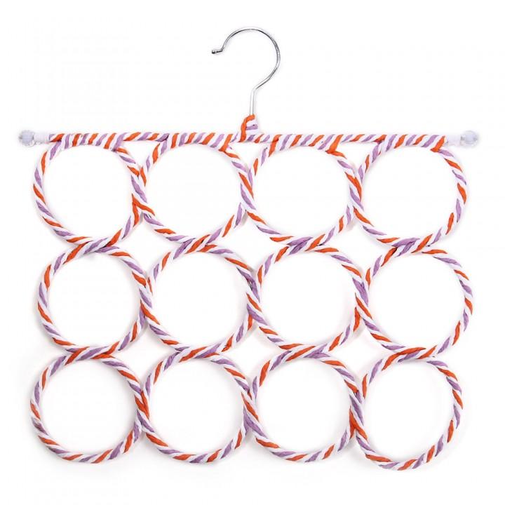 Clothes Tie Belt Scarf Hanger Holder Closet Organi ORANGEPINK 12 HOLES