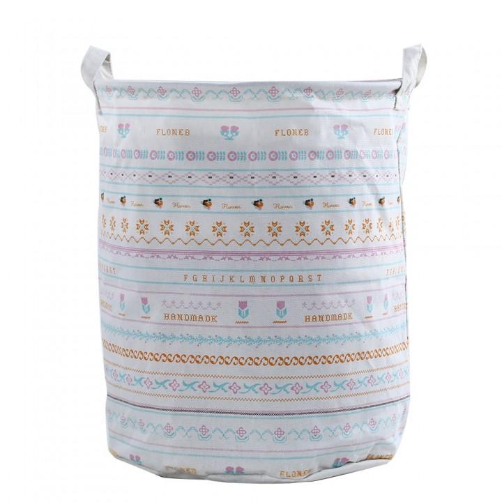 Multipurpose Cotton Linen Collapsible Laundry Bask COLORMIX 01