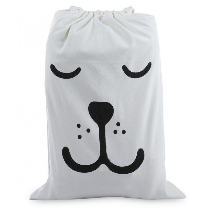 Laundry Storage Canvas Bag Cute Cartoon Pattern Wa WHITE BEAR CLOSE EYES