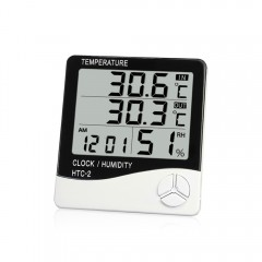 HTC - 2 Digital Electronic Temperature Humidity Me BLACK