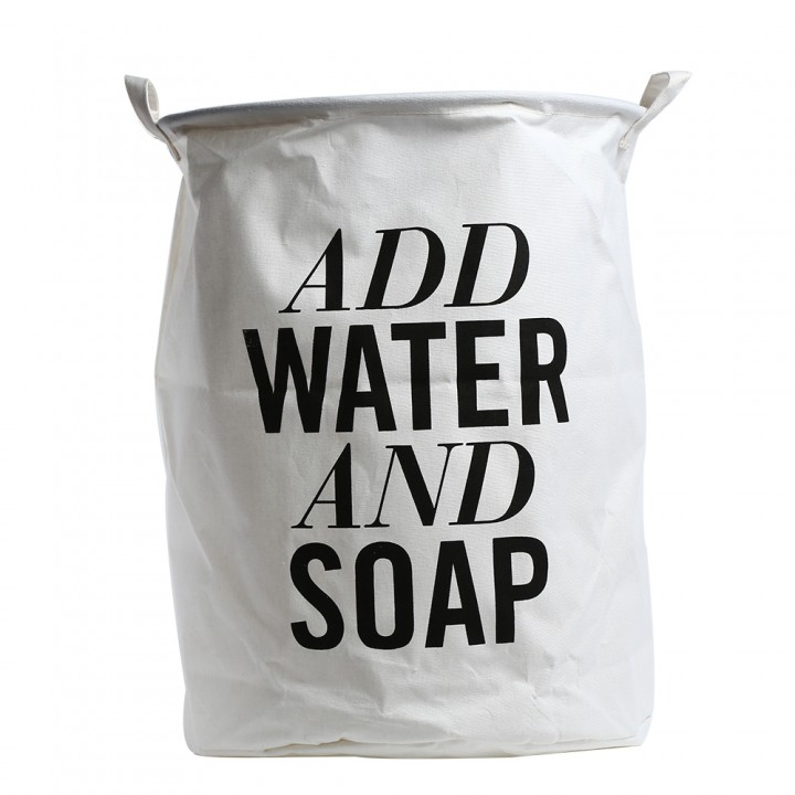 ADD WATER AND SOAP Printed Cotton Linen Folding La WHITE AND BLACK