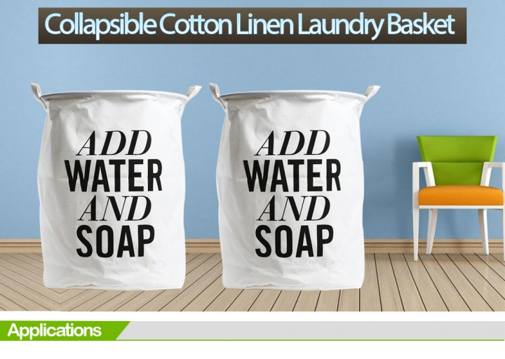 ADD WATER AND SOAP Printed Cotton Linen Folding Laundry Basket Dirty Clothes Storage Hamper