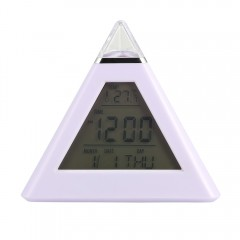 Colorful Digital Temperature Alarm Clock WHITE