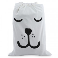 Laundry Storage Canvas Bag Cute Cartoon Pattern Wa WHITE BEAR CLOSE EYES