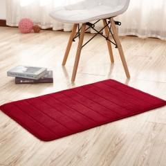 Bathroom Mat Soft Solid Coral Fleece Thick Antiski WINE RED 40X60CM