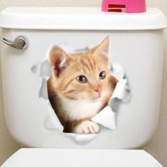 Lovely Animal Fridge & Toilet PVC Wall Sticker MULTI-C