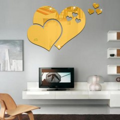 PMMA Hearts Shape Diy Mirror Wall Stickers Home Wa GOLDEN
