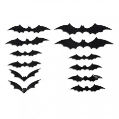 12PCS Halloween Bat Wall Stickers Decor Door Windo BLACK