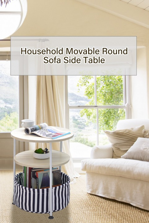 Household Movable Round Sofa Side Table