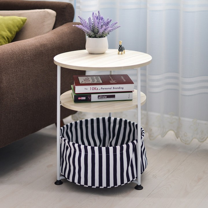 Household Movable Round Sofa Side Table BLACK