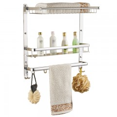 Space Aluminum Multi-Functional Bathroom Towel Bas SILVER 40CM